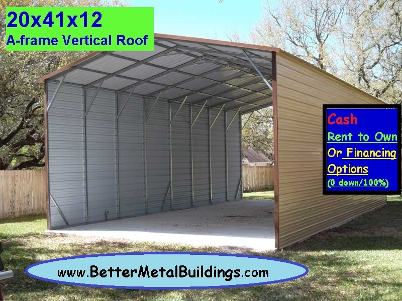 20x40x12 A-frame Vertical roof-RV Cover - sides closed