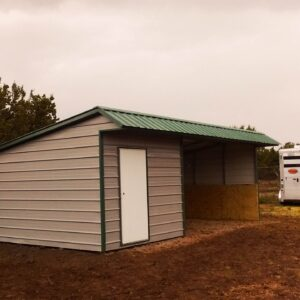 12x16 loafing shed- vertical roof- 12x8 tackroom- kickwall-