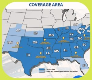 Eagle Carports Coverage Area Map